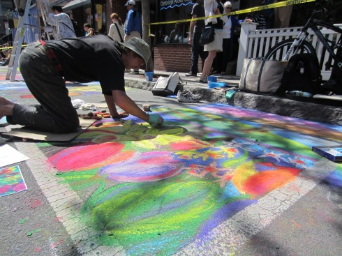 Jason Williams brought Magazine Beach blossoms and blooms to Harvard Square at the Rotary's Chalk on the Walk event Sunday, and won a People's Choice Award.