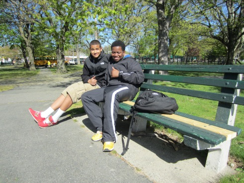 David and Luis relax on a park bench after walking 16.5 miles of the Walk for Hunger May 5th.