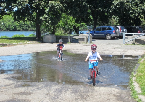 What could be more fun than riding through puddles!