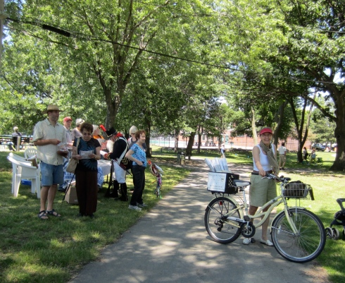 The CRC's Renata von Tscharner and nature and history lovers at the park.