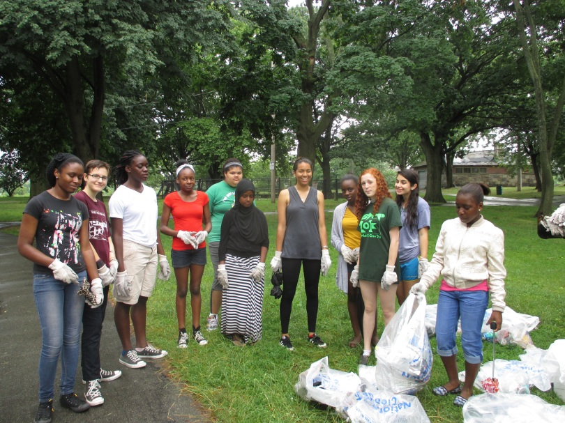 Thanks to the Community Action Partner Girls who cleaned up Magazine Beach July 11th. Photo by Danielle Stehlik of the CRC.