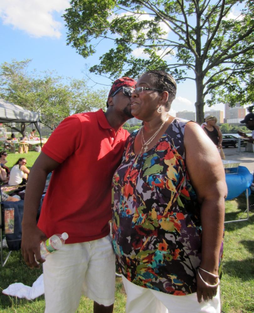 Nannette receives a welcoming kiss.