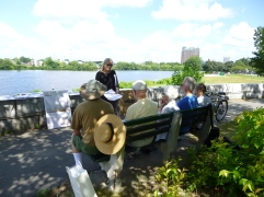 Marilyn Wellons shares the story of Captain's Island during Discovery Days. Photo by Nina Cohen.