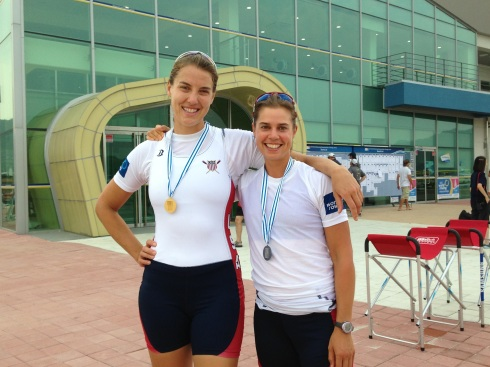 RBC's Emily Huelskamp and Hilary Saegar. Emily won a gold in the women's four. Hilary won silver in the women's lightweight quad.