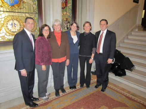 Sen. Petruccelli, Marge Amster, Olivia Fiske, Cathie Zusy, Gina Foote and Rep. Jay Livingstone
