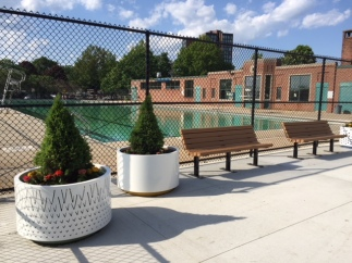 The pool is full and the new spray deck has new plantings!